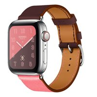 Double Color Swift Genuine Leather Watch Band for 40mm 44mm ...