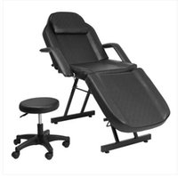 Wholesales HOT Sales Adjustable Beauty Salon SPA Massage Bed Tattoo Chair with Stool Black