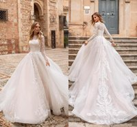 New 2019 Vintage Long Sleeves Lace Wedding Dresses Tulle Lac...