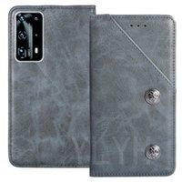YLYH TPU Silikon-Schutz Haltbare echtes Leder-Gel-Abdeckung Telefon-Kasten für Huawei P Smart P40 Pro Plus Y7P Pouch Shell Wallet Etui Haut