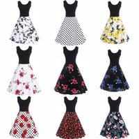 Sleeveless Floral Hepburn Dress 9 Styles Women Ball Gown Par...