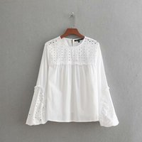Women Vintage Hollow Out Embroidery Patchwork Smock Blouse S...