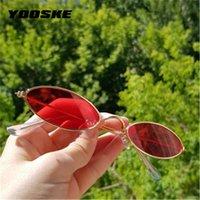 YOOSKE Skinny ovale Occhiali da sole donna 90s vintage Piccolo Cat Eye Sun Glassses Uomini telaio in metallo piccolo piccola rotonda Sunglass UV400