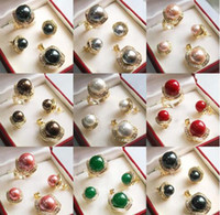 Zwart Wit Roze Grijs Shell Pearl Green Jade 18kgp Hanger Ketting Ring Oorbel