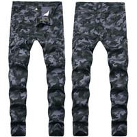 Homens novos Jeans Macacões camuflagem jeans stretch Slim Fit longa Blue Jeans Pants Hip Hop Calças Lápis para o sexo masculino