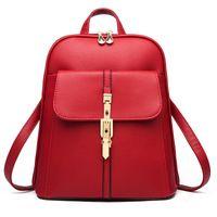 HBP جودة عالية لينة جلد النساء حقائب حقائب مدرسية قدرة كبيرة لفتاة الكتف حقيبة سيدة حقيبة سفر ظهره أحمر
