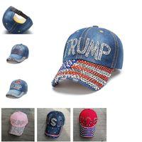 2020 Donald Trump Denim Diamond Hat President Election Baseball Ball Cap Adjustable Snapback Summer Men Women Visor Hats Casquette D22406