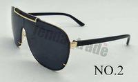 2019 الأزياء الأسود النظارات الشمسية المرأة إطار كبير معدن نظارات الرجال قطعة واحدة غطاء مرآة شكل نظارات الشمس المغلفة 3 ألوان موك = 5 قطع