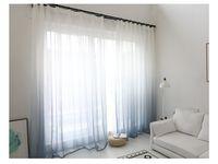 الحديث التدرج لون نافذة تول الستار عن غرفة نوم وغرفة معيشة الأورجانزا الفوال ستائر فندق الديكور الزرقاء الستائر شير