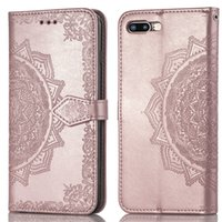 Geprägte Mandala Kreditkartensteckplatz-Portemonnaie für iPhone XR XS Max X 8 7 6 und Samsung Galaxy Note 9 8 S8 S9 S7 Edge Plus Hülle