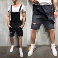 Дизайнерские Узкие Короткие Мужские Джинсовые Комбинезоны Летняя Мода Отверстия Джинсовые Рабочие Брюки Мужская Одежда