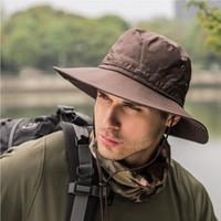 2019 Militar Panamá Safari Boonie chapéus de sol Cap Men Verão Mulheres Camuflagem Bucket Hat Com Pescador do tampão de Cordas