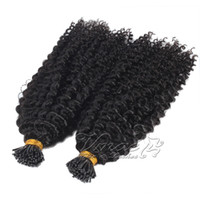 VMAE brasilianischen Natural Black 2g Strand 100g Pre Bonded Versaute Curly Keratin-Stock-Single Double Drawn I Spitze-Menschenhaar-Verlängerung