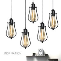 Modern Industrial Pendant Light Black Iron Vintage Cage home...