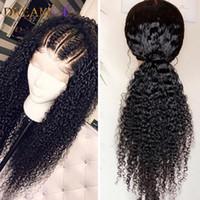 Kinky Curly 360 dentelle Frontal brésilienne perruque pour les femmes noires lâche perruque avant de dentelle synthétique bouclés avec noeuds sans colle cheveux bébé pâli