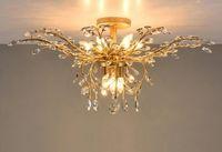 Светодиодные люстры светильники железо Кристалл потолочные светильники 9 голов вверх / вниз свет черный / бронзовый люстры лампы домашнего декора американская деревня