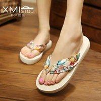 Летом новый богемный атлас клин с клиньями противоскользящих флип-флоп флип-флоп сандалии и тапочки пляжных женщин оптовой корейской версии