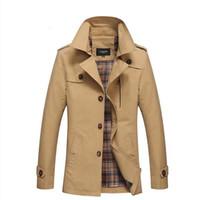 Homens Spring Business Casual Trench Coat Jacket homens Marca Moda algodão manga comprida Sólidos Coat para homens Trench Washed