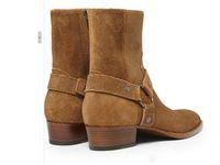 Tamaño caliente de Sale-Plus euro 38-46 vaquero botas de motorista zapatos para hombre SLP cuero auténtico arnés botines