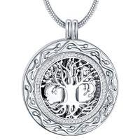جولة شجرة الحياة التذكارية رماد جرة القلائد الحرق مجوهرات الفولاذ المقاوم للصدأ ، تذكار قلادة المنجد للرماد للمرأة