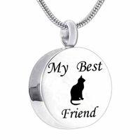 الفولاذ المقاوم للصدأ القط الحيوانات الأليفة أفضل صديق قلادة تذكارية حرق جولة قلادة ماء الحيوانات الأليفة رماد مجوهرات الجناه