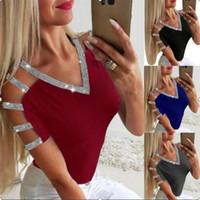 Desinger Sequins Tshirts V Yaka Uzun Kollu Bayan Yaz 2020 Yeni Stil Gündelik Giyim 5XL Kadın Seksi
