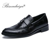BIMUDUIYU Mikrofiber Deri Örgün İş Oxfords Ayakkabı El Yapımı İtalyan Tarzı Erkekler Elbise Ayakkabı Ofis Tasarımcı Ayakkabı Erkekler