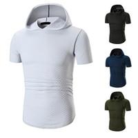 Kapşonlu Büyük Erkek Tişörtü Popüler Gündelik Katı Kısa Kollu Nefes Tasarımcı Gömlek 2019 Yaz Yeni