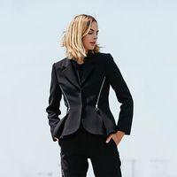 Femmes Cuissures Blazers Vêtements de Vêtements Veste Blazer Femmes Élégant 2021 Noire Femme Vintage Gothic Hat Office Lady Chaquetta Vêtements 026