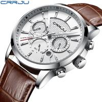 CRRJU la nueva manera de los hombres relojes de cuarzo analógico de pulsera 30M impermeable del deporte del cronógrafo Fecha banda de cuero Relojes Montre homme