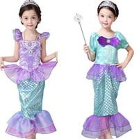 Mädchen Little Mermaid Princess Kleid Cosplay Kostüme für Kinder Mädchen Meerjungfrau Kleid Kinder Halloween Kleidung Mermaid Kleid 3stylesljjk2027