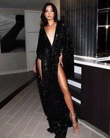 2019 Siyah Shining Sequins Gelinlik Modelleri Yan Bölünmüş Dalma V Boyun Uzun Kollu Örgün Durum Abiye Parti Elbiseler Sıcak Satış