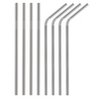8.5inch 215mm 304 Acciaio inossidabile Metallo Cannuccia Straight / Bent Accessori per bar riutilizzabili Party Eco Friendly Bar Cannucce