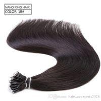 1g / s 100s brasilianischen Micro Nano Schleifen-Ring-Menschenhaar-Verlängerungen 100% Remy Haar-gerade 18colors + 100pcs Nano Ringe Perlen