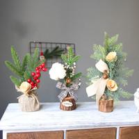Ornamento del árbol de Navidad de madera simulada Pequeño PVC vainilla Maceta 3 diseños de decoración de Navidad más nuevo 25 31cm 10xya E1