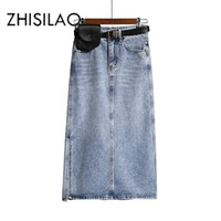 Röcke Langer Denim Rock Frauen Vintage High WASIT Jeans mit Gürtel plus Größe Straight A-Line Bleistift Elegant Sommer 2021 Chic