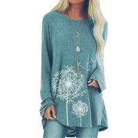 Designer-Druck-T-Shirt Top Langarm-Frauen-beiläufige Tees Lose O-Ansatz T-Shirts Große Mollige 5XL Dame Tops Damenkleidung