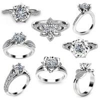Hot New Rings fleur de strass de bonne qualité Fashion bague en argent 925 mélangé différents styles de mode bijoux de mariage DHL gratuit