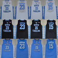 NCAA North Carolina Tar Heels 15 Carter 23 Michael College pas cher blanc bleu noir de basket-ball Maillots Cousu Logos chemises jersey
