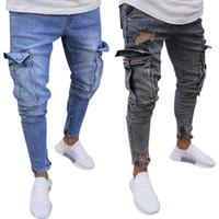 Erkekler Için yeni Yırtık Kot Ince Biker Fermuar Denim Jeans Sıska Cep Pantolon Pantolon Mavi Artı Boyutu 3XL 4XL Drop Shipping