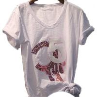 2019 Femmes Top Top T-shirt White T-shirt Casual manches courtes T-shirt paillettes Tee-shirt Femme Femme Lady Vêtements1