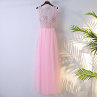 Perlen O Neck Long Tüll Brautjungfernkleider 2020 bodenlangen Abendkleider Pink Party Dress Elegant