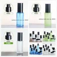 40 ml buzlu / yeşil / mavi / beyaz cam şişe siyah pompa kapaklı serum / losyon / emülsiyon / vakıf / cilt bakımı kozmetik ambalaj