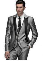 2019 Yüksek Kalite Parlak Gümüş Gri Erkekler Erkekler Için Uyarlanmış Damat Düğün Smokin Resmi Balo Elbise Erkekler (Ceket + Pantolon + Yelek)