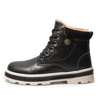 Preto Mens botas de neve Casual Shoes Homens Inverno Botas de couro impermeáveis botas sapatos masculinos Brown Lace-Up snowboots Mannen