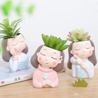 독창성 화환 소녀 화분 신제품 살집이 좋음 화분에 심은 식물 토끼 수지 장식 데스크톱 친환경 색상 선택 (12) 5ltC1