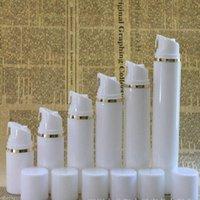 100pcs 30ml 50ml 80ml 100ml 120ml 150ml Gold-Silver Line Airless-Vakuumpumpe Lotion-Flasche mit weißer Kappe Kosmetische Flasche