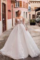Naviblue 2020 Prinzessin Brautkleider Scoop Neck lange Hülsen-Spitze Brautkleider abiti da sposa Saudi Individuelle Illusion Brautkleid