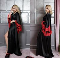 2020 الحرير الحرير الأسود الربائز للنساء الدانتيل الأحمر ألف خط النوم ليلة رداء حمام الزفاف العروس الجلباب خلع الملابس ثوب بيجاما
