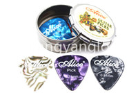 Alice Petit ronde en métal Porte Choisissez Boîte cas avec 12pcs Perle Celluloid Guitar Picks Livraison gratuite